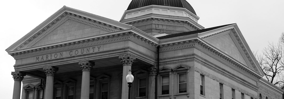 Hannibal Missouri Marion County Courthouse in Black and White