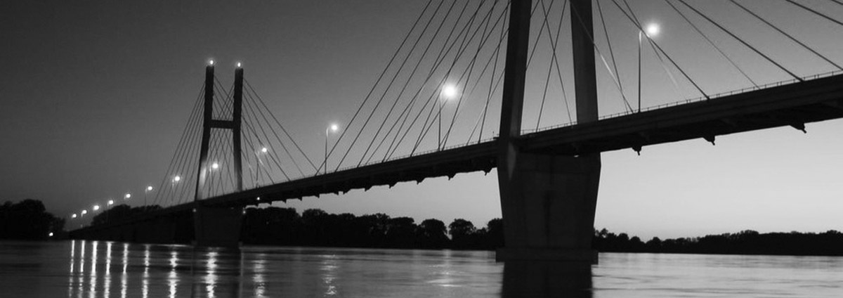 Quincy Illinois Bridge in Black and White